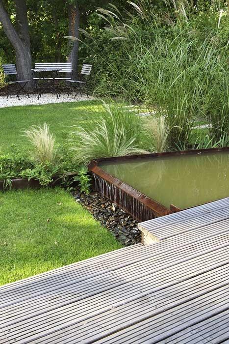 garden deck and pond