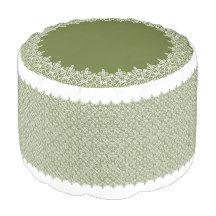 すっきりラインのタイル柄・カーキ プーフ