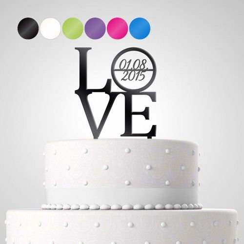Cake Topper Tortendekoration Acryl 'Love' personalisiert mit Datum