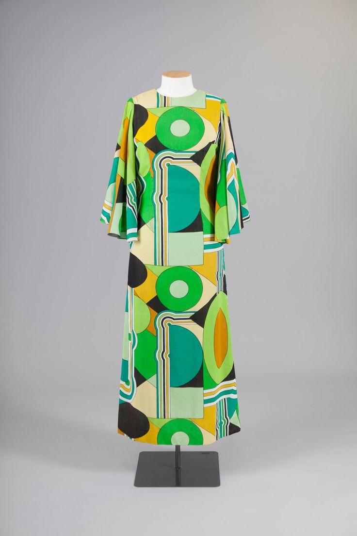 Kaftan dress with geometric pattern print by Flair Girl, late 1960s