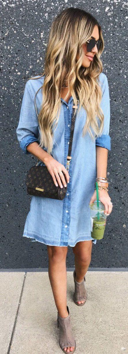 #summer #outfits  Denim Shirt Dress + Black Printed Shoulder Bag + Grey Open Toe Booties