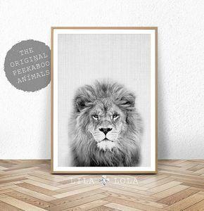 Lion afdrukken met Safari kwekerij dierlijke Wall Art Baby