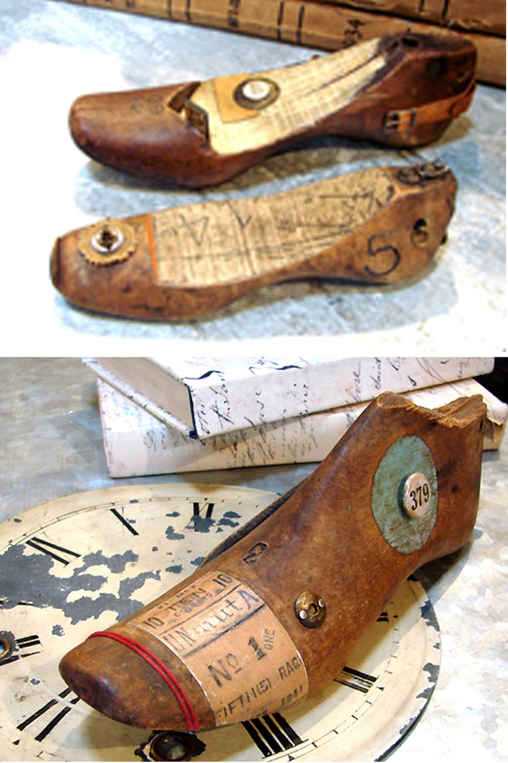 Mixed media vintage shoe last sculptures - sold in San Diego, CA store