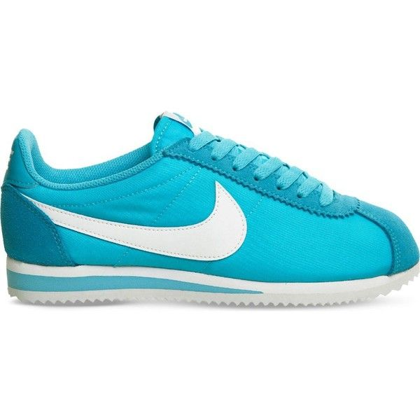 NIKE Cortez nylon and suede trainers (105 CAD) ❤ liked on Polyvore featuring shoes, sneakers, gamma blue white, lace up shoes, rubber sole shoes, blue and white shoes, suede lace up shoes and nike sneakers