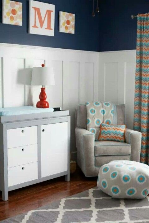 Color: navy & gray with pops of orange and aqua