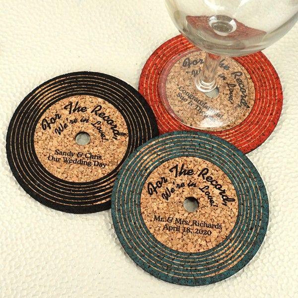 Personalized Vinyl Record Cork Coaster Music Themed Wedding Wedding Coasters Favors Music Wedding Favors