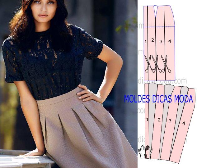 Analise a execução do molde de saia de pregas que está explicada com grande rigor para que possam concluir a modelagem da saia com facilidade.