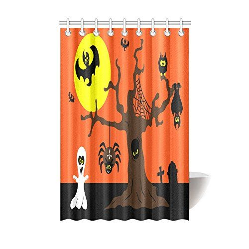Happy Halloweens Day Gifts Waterproof Bathroom Decor Fabric Shower Curtain Polyester 48 X 72 Inc Halloween Shower Curtain Fabric Decor Shower Curtain Polyester