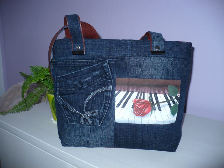 Jeans handbag.. with rose on piano painted by my daughter