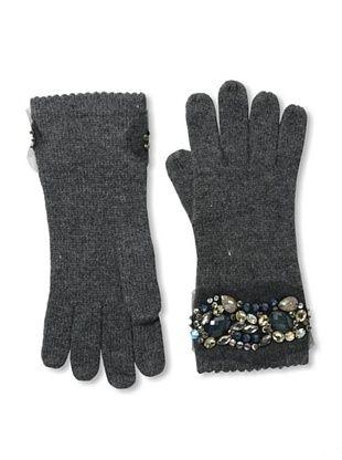 Carolina Amato Women's Cashmere Applique Gloves (Heather Gray)
