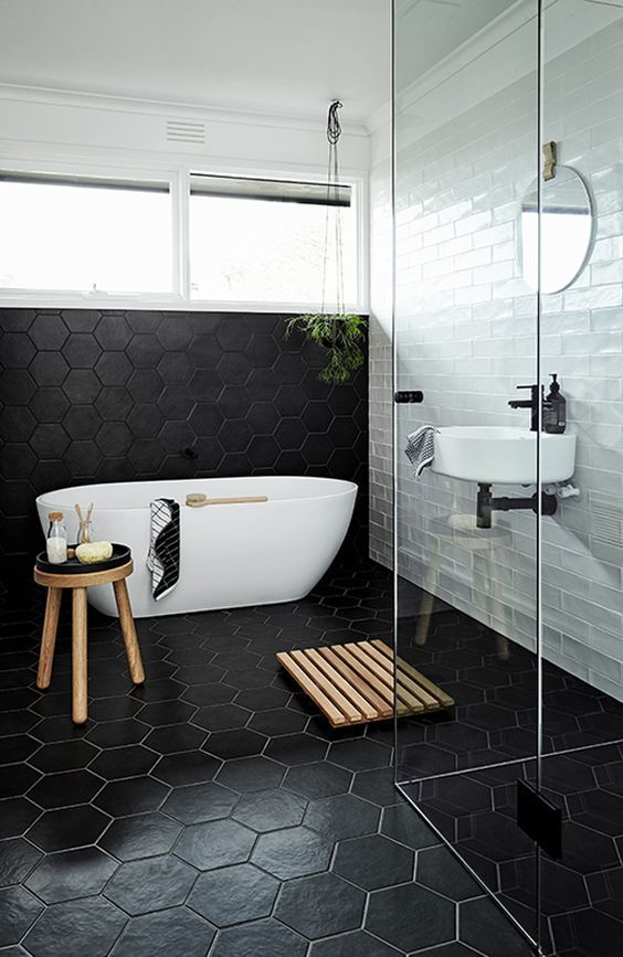 Everything about this bathroom is minimal yet chic. - The 25+ Best Honeycomb Tile Ideas On Pinterest Hexagon Tiles