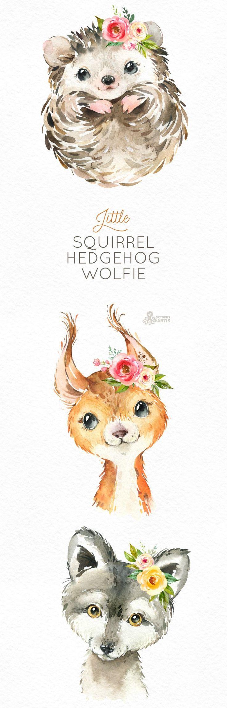 Kleines Eichhörnchen Igel Wolfie. Aquarell Tiere Clipart, Wald, Wald, Blumen, Kinder, niedlich, Kinderzimmer Kunst, Natur, realistisch, Freunde