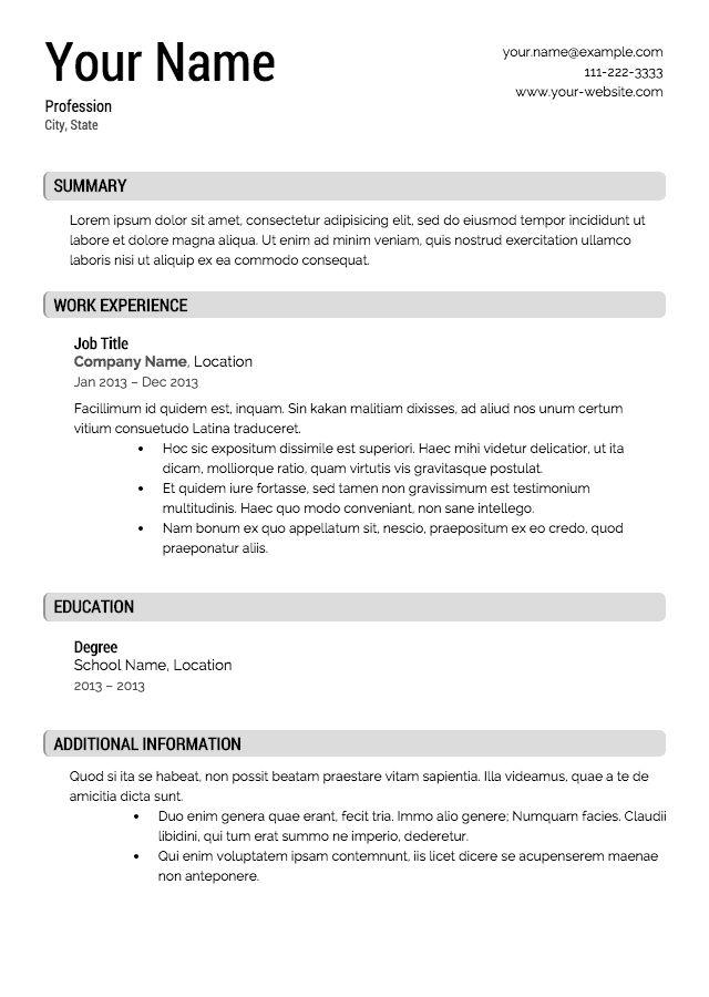 413 Free Resume Templates Free Resume Templates Pinterest