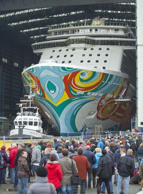 Norwegian Getaway at Meyer Werft Shipyard – Norwegian Getaway Float-Out Photo Tour | Popular Cruising (Image Copyright © Meyer Werft)