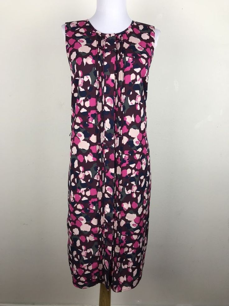 Banana Republic Dress Petite Size 12 Sleeveless Shift Floral Maroon Pink Pleated #BananaRepublic #ShiftDress