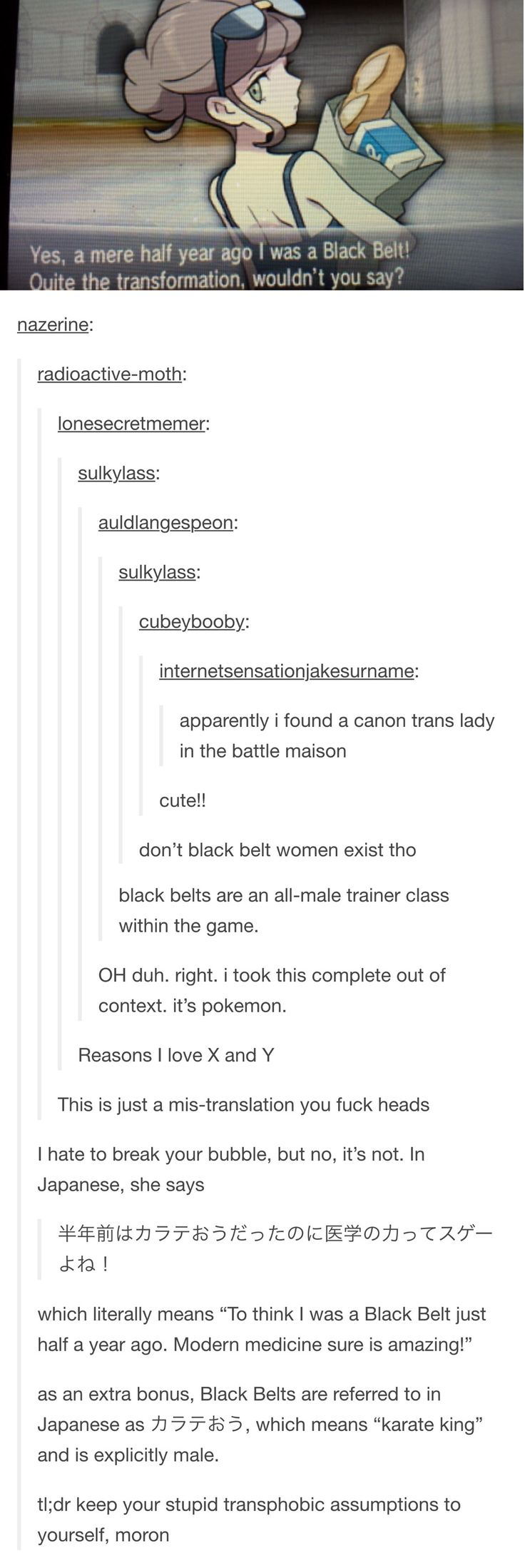So apparently you can't have any kind of character or story without Tumblr wanting to make it all about the LGBT community. I hate Tumblr and wish that the stupid fake genders would end this is so stupid and there is no way a fucking 4 year old can decide to be trans. Liberals want people to stop labeling them but then fucking MAKE UP fake genders to label themselves and make themselves feel special. Kys<<<Omg you are so right