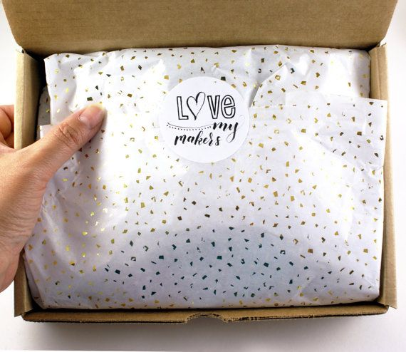 24 sheets of Tissue Paper -  Metallic Gold Confetti flecks on White - 15 x 20 inch 100% recycled tissue for Packaging and Gift