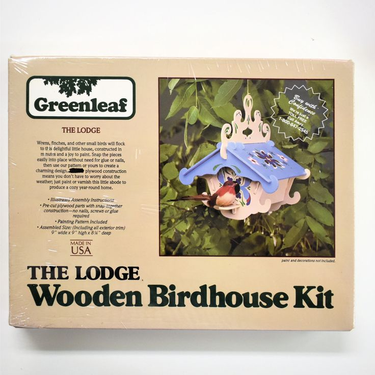 "vintage wooden The Lodge bird house kit, 1/8"" exterior plywood, punch out, with painting pattern by TinasMinis on Etsy"