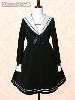Innocent World - Sailor Collar A-line OP in Black