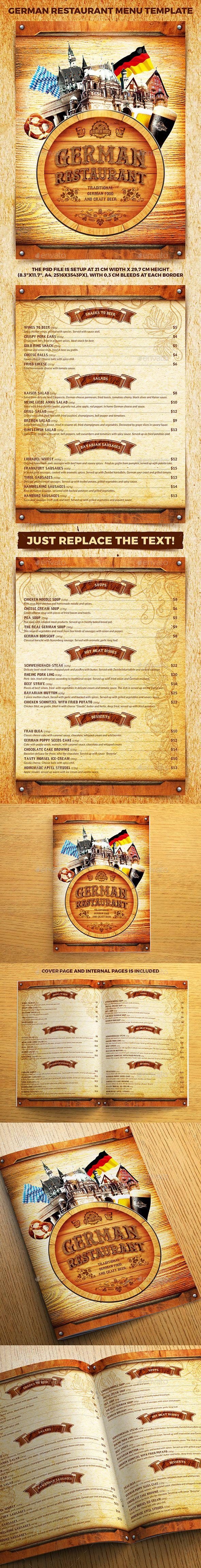 "German Restaurant Menu Template ¡°German Restaurant Menu Template"" suitable for any German/Bavarian/ Beer cafe/restaurant business"