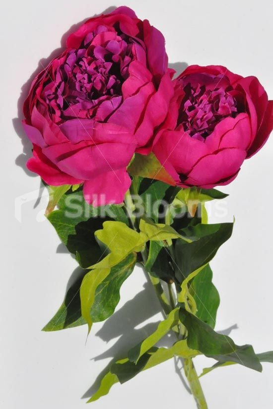 Artificial Peony Single Stem Flower in Pink. Double Headed Artificial Peony Loose Floral Stem 82.5cm