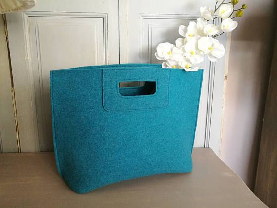Casual elegante borsa turchese borsa di feltro lana