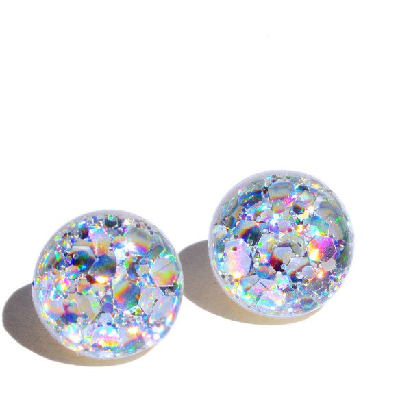 Hologram Earrings Jewelry Holo, Glitter, Shiny, Sparkly, Bling, Alien... ($16) ❤ liked on Polyvore featuring jewelry, earrings, glitter jewelry, polish silver jewelry, glitter stud earrings, silver earrings and earring jewelry