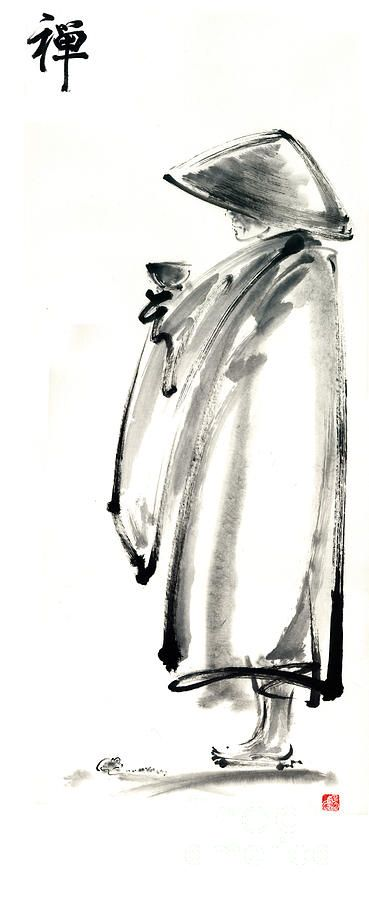 Buddhist Monk With A Bowl Zen Calligraphy Original Ink Painting Artwork Painting by Mariusz Szmerdt