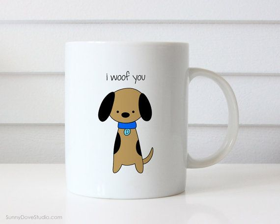 Funny Gift For Boyfriend Girlfriend Husband Wife Coffee Mug Dog Pun I Love You Woof Christmas Anniversary Birthday Gifts Quote Mugs Him Her  I Woof You. This funny mug is a fun way to say I love you to your boyfriend, girlfriend, husband, wife, the dog and pun lovers in your life! Perfect for Christmas, celebrating your anniversary or wishing someone you love a happy birthday, this cute little dog makes a sweet companion to any daily coffee routine. Design is printed on both the front and…