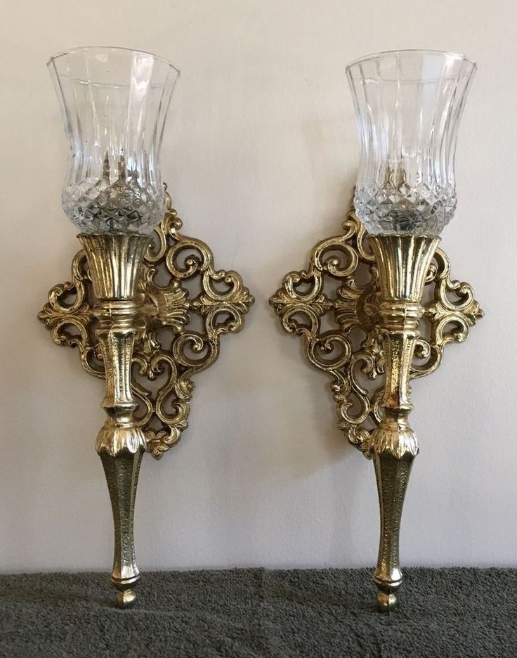 Vintage Pair If Old World Ornate Metal Wall Sconces Candle Holders