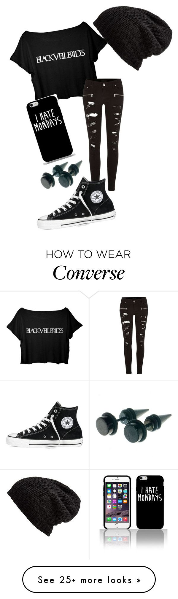 """All black"" by magcon4life13 on Polyvore featuring River Island, Converse and Free People"