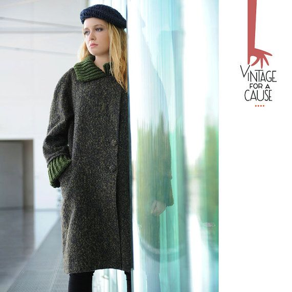 Vintage long green coat by Vinntagefac on Etsy
