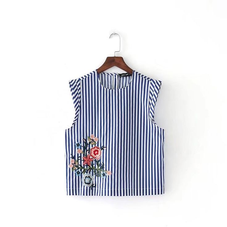 >> Click to Buy << Free shipping summer women's casual sleeveless stripe tops o neck plower embroidered silm blouse summer short girls shirt #Affiliate