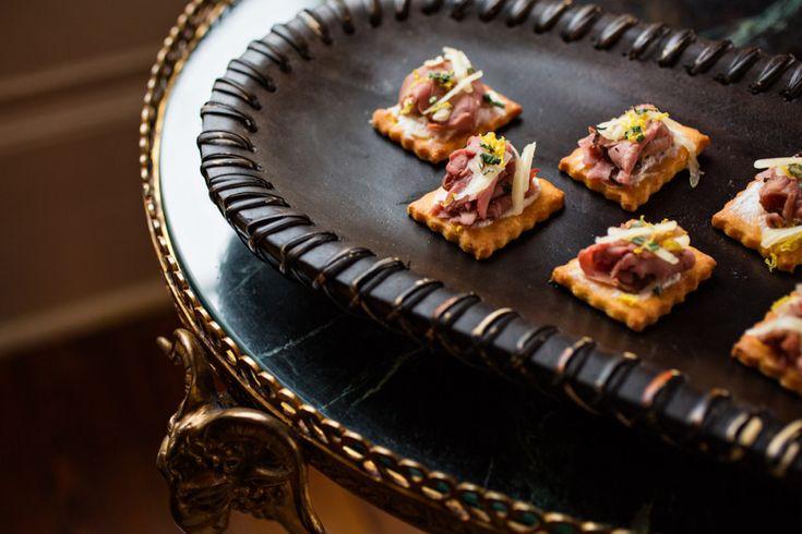 Corn cracker tartine with roast beef, yogurt, horseradish & white cheddar from the PPHG culinary team | The William Aiken House in Charleston, South Carolina