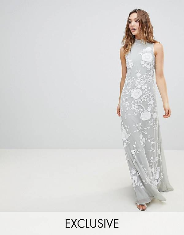 8d3f1242434e Frock And Frill Premium All Over Embellished High Neck Trophy Maxi Dress