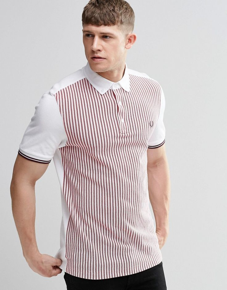 Image 1 ofFred Perry Polo Shirt With Vertical Stripe Slim Fit                                                                                                                                                                                 More