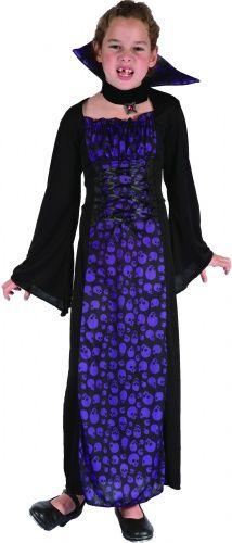 Verkleedkostuum vampier paars voor meisjes Halloween pak
