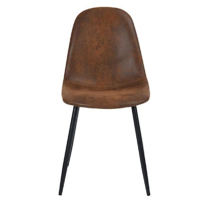 Charlton Lot De 4 Chaises Tissu Marron Style Vintage L 42 5
