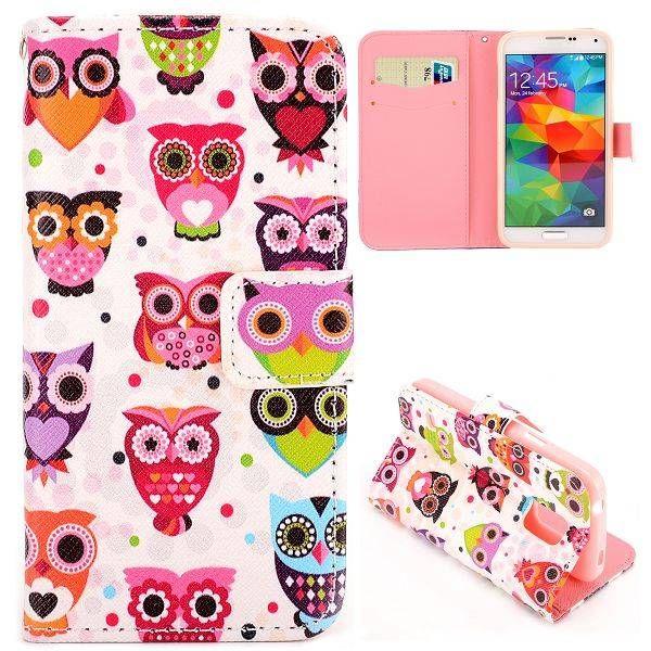 Kleurrijke uilen booktype voor Samsung Galaxy S5 mini