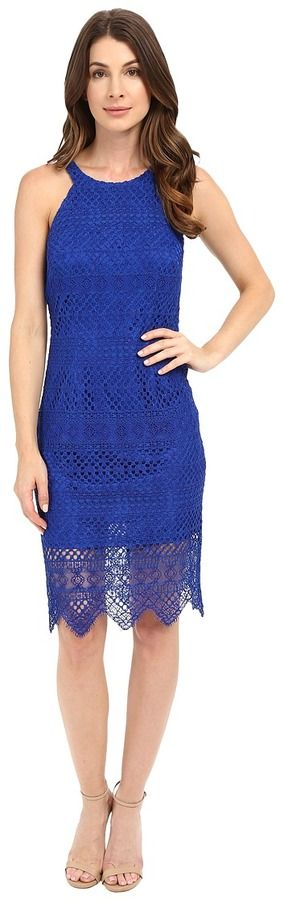 Laundry by Shelli Segal Salem Stripe Lace Cutaway Short Dress with Scalloped Hem