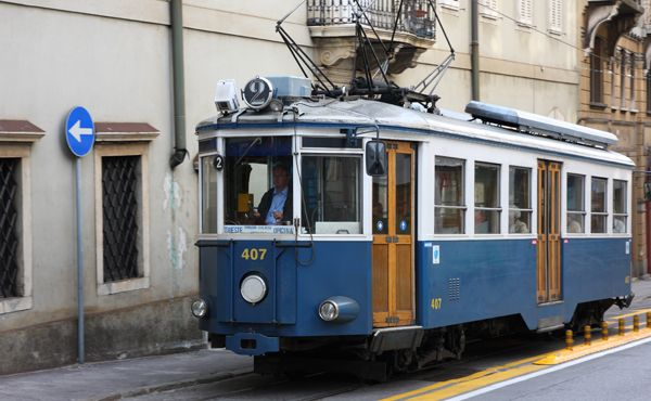 Blue tram (street car) in Trieste, Italy*** This is called Il Tram di Oppicina.