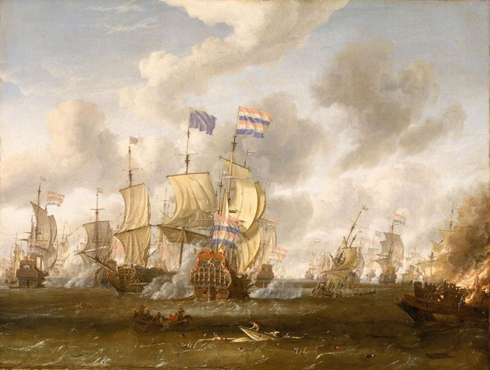 The Goulden Leeuw Engaging Royal Prince at the Battle of the Texel 11 August 1673