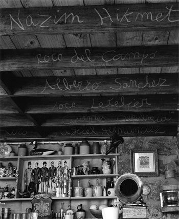 Pablo Neruda's study in Isla Negra, Chile. Carved into the beams are the names of poets who influenced Neruda.