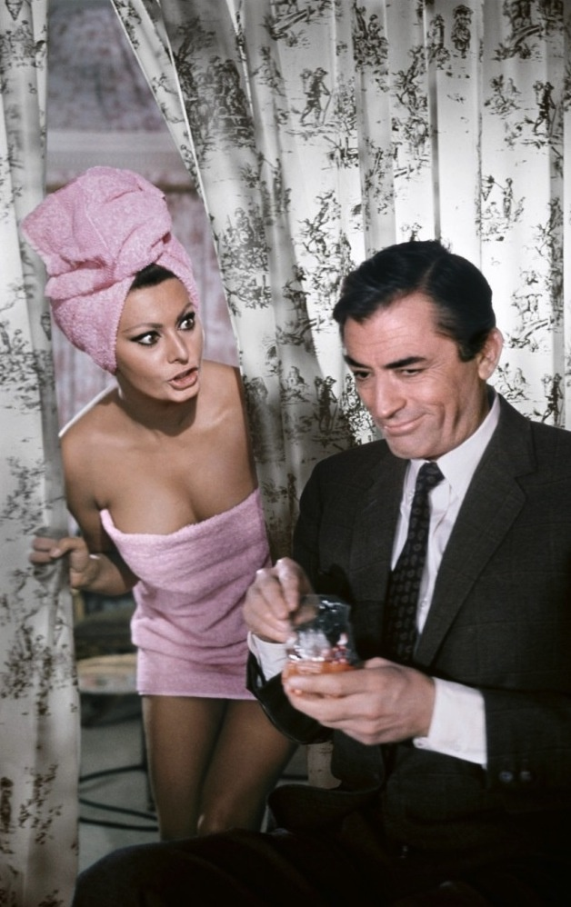 """Sophia Loren and Gregory Peck for """"Arabesque"""" directed by Stanley Donen, 1966"""