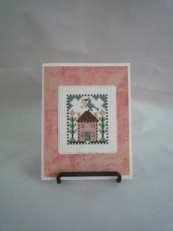 Pink house of Hope  hand stitched card by HMCrafters on Etsy, $6.00