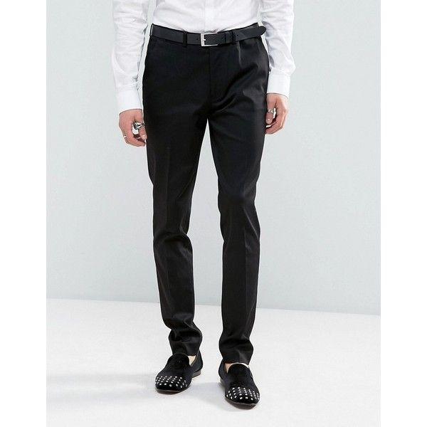 ASOS Super Skinny Suit Pant In Black ($40) ❤ liked on Polyvore featuring men's fashion, men's clothing, men's pants, men's dress pants, black, mens skinny fit dress pants, mens super skinny dress pants, mens cotton pants, tall mens dress pants and mens stretch dress pants