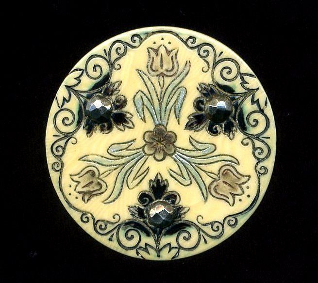 Antique Button...Beautiful Celluloid Ivorine with Cut Steels...Triad of TULIPS