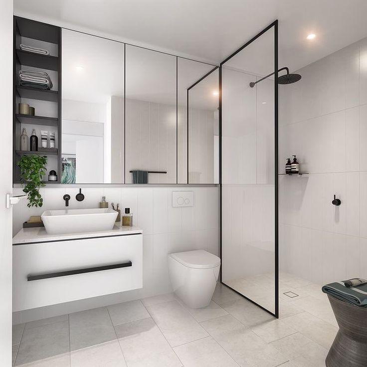 "3,376 Likes, 29 Comments - Scandinavian Homewares (@immyandindi) on Instagram: ""Ensuite inspo via @domain.com.au - that black shower frame 😍 | #bathroom #ensuite #homeinspo"""