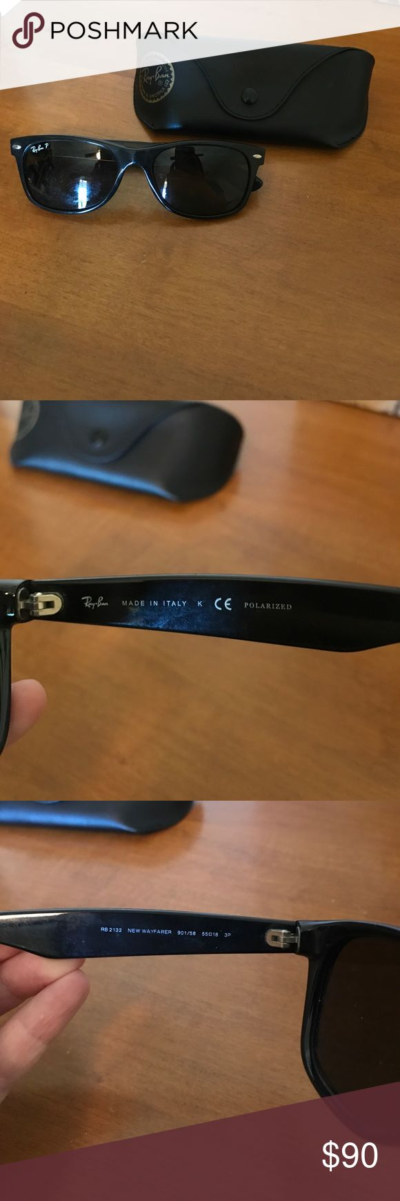 Polarized Ray Ban Wayfarers RB2132 Black polarized Ray Ban wayfarer sunglasses. Good condition and they come with the case. Worked great for me when I was a lifeguard 😎 but I don't wear them anymore. Ray-Ban Accessories Sunglasses