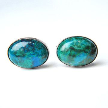 Oval Malachite Cufflinks, $128, now featured on Fab.